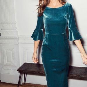 Boden•Aubrey Velvet Midi Sheath Dress 12